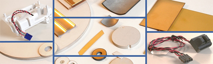 Montage of assorted piezoelectric ceramics and ultrasonic transducers